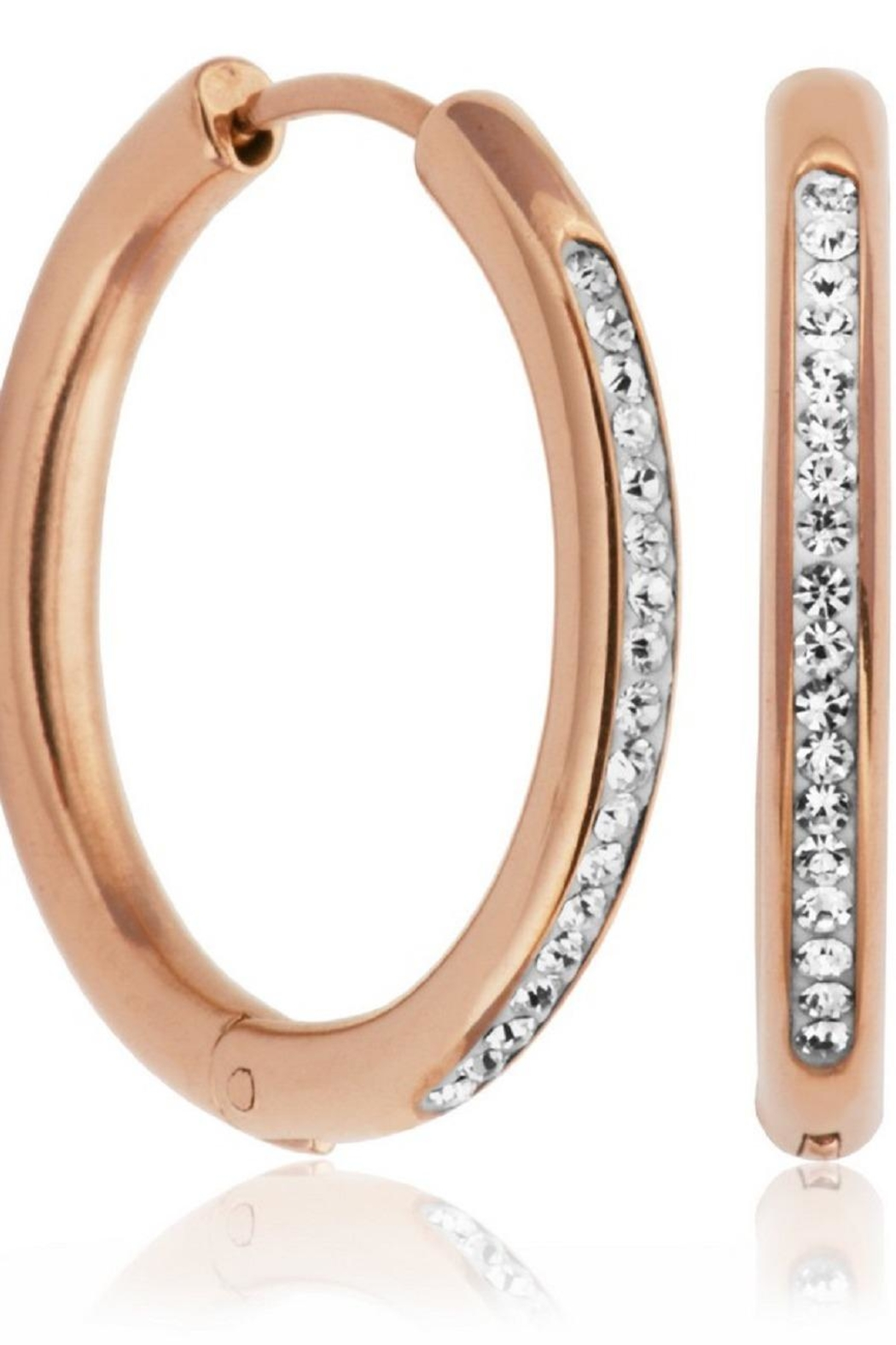 Bling It Around Again Crystal Hoop Earrings - Front Cropped Image