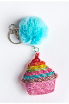 Bari Lynn Crystal Keychain Cupcake/With Fur Pom Pom - Product List Image