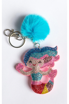 Bari Lynn Crystal Keychain Mermaid/With Fur Pom Pom - Alternate List Image