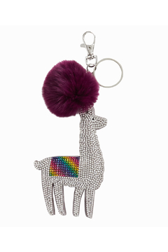 Bari Lynn Crystal Llama Key Chain/ With Fur Pom Pom - Alternate List Image