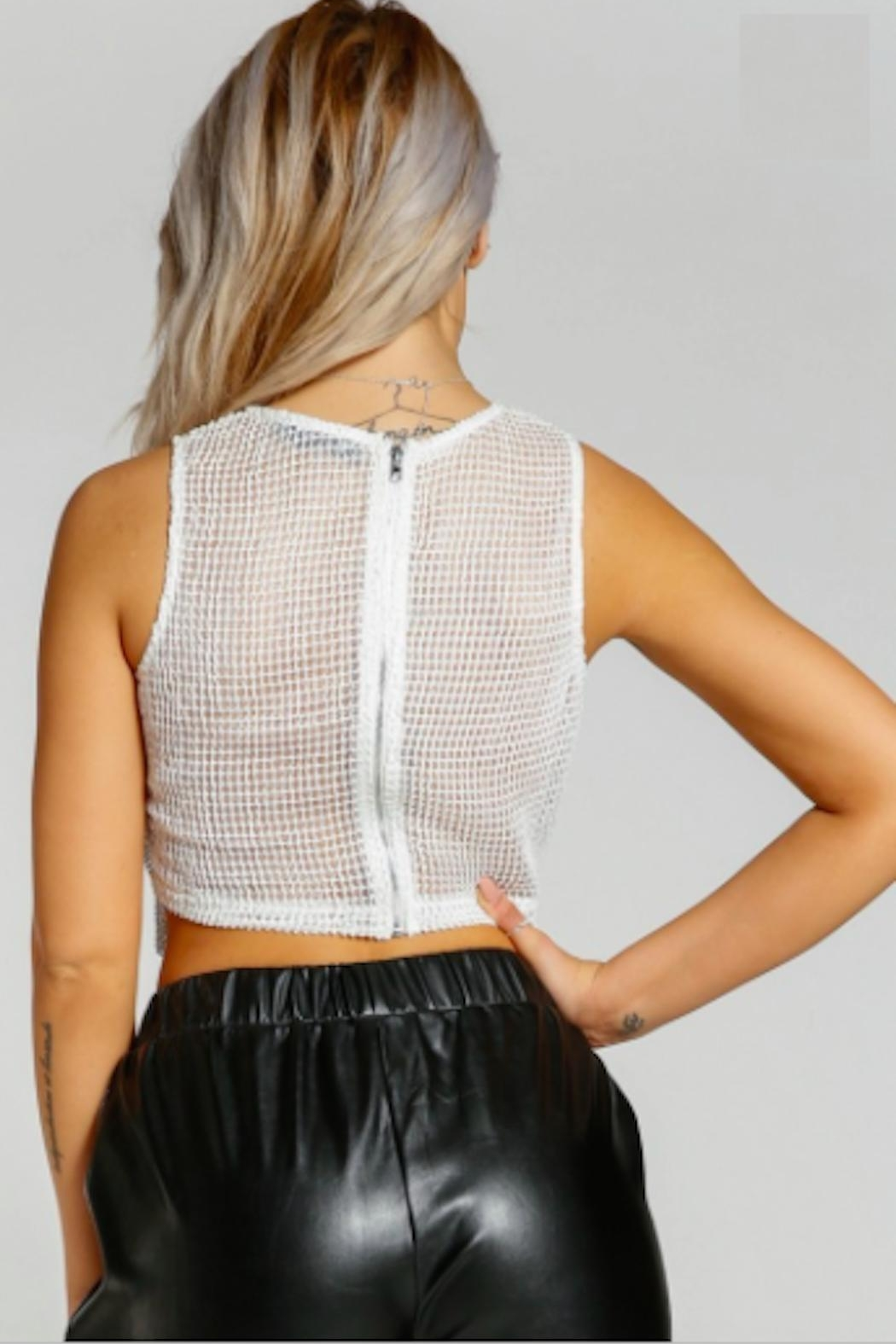 TIMELESS Crystal Mesh Tank - Back Cropped Image