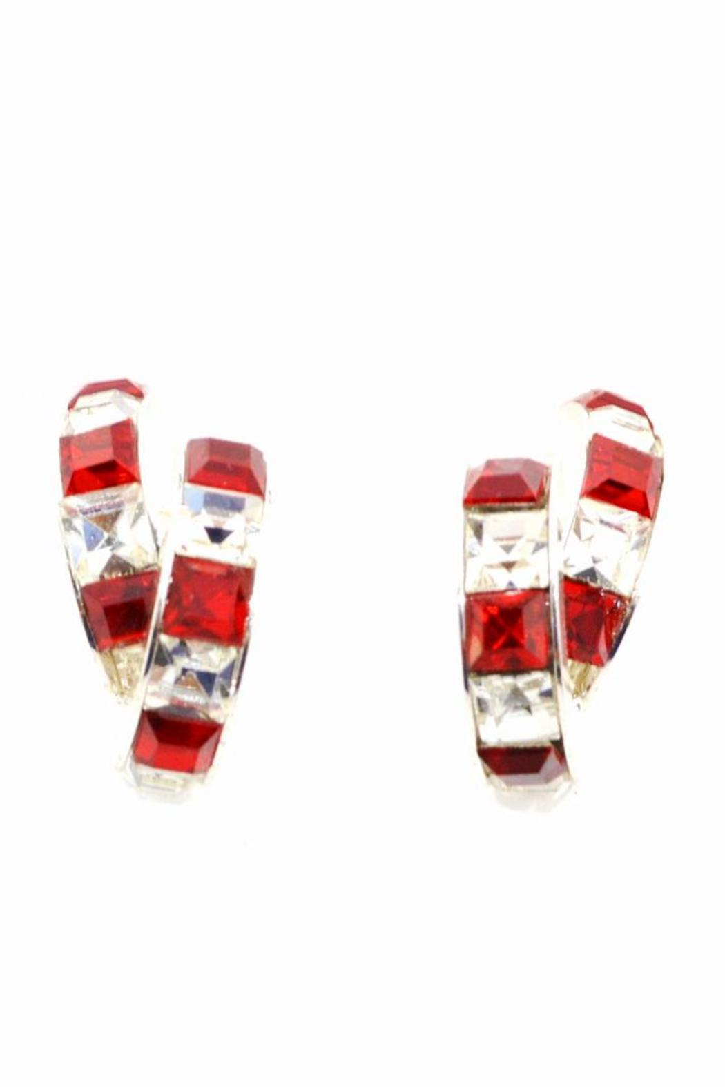 Crystal Red & White Earrings - Main Image