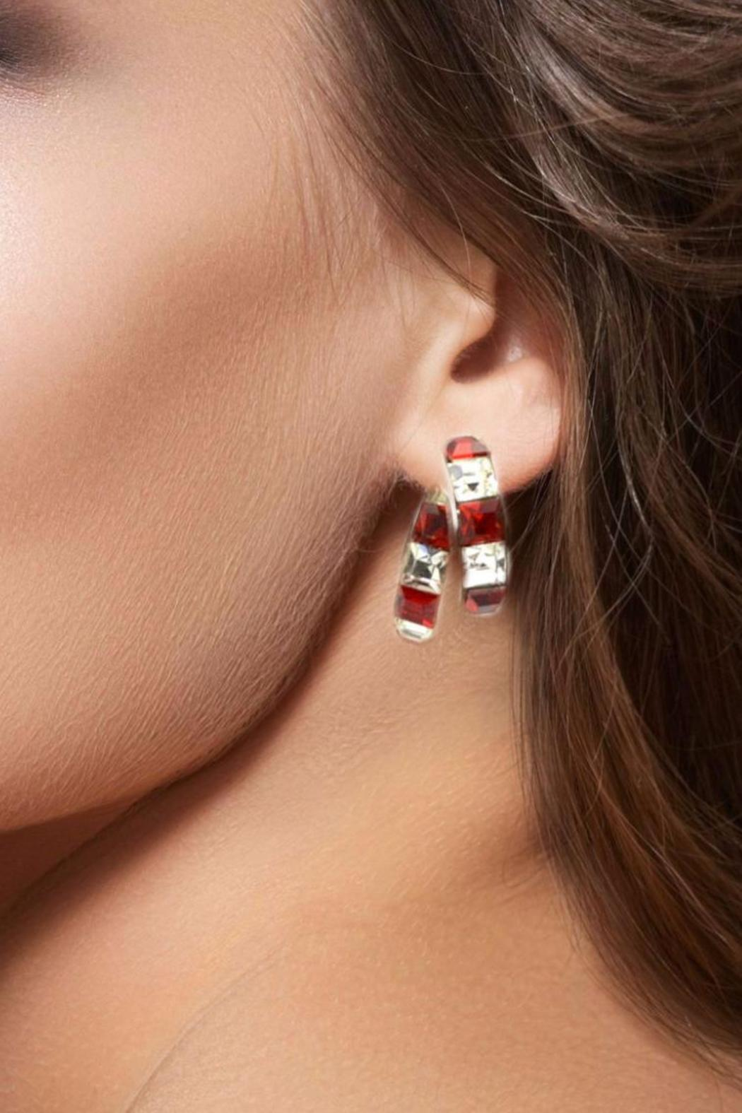 Crystal Red & White Earrings - Side Cropped Image