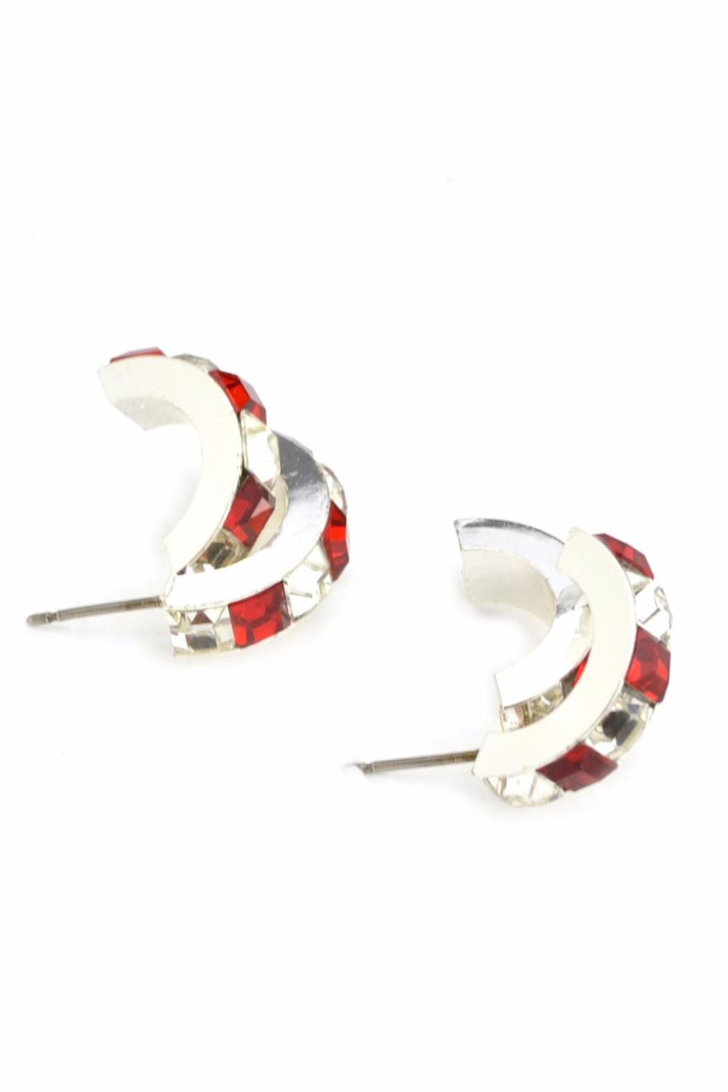 Crystal Red & White Earrings - Back Cropped Image