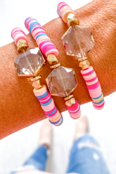 Savvy Bling Crystal Stone Multicolor Heishi Bracelet - Product List Image