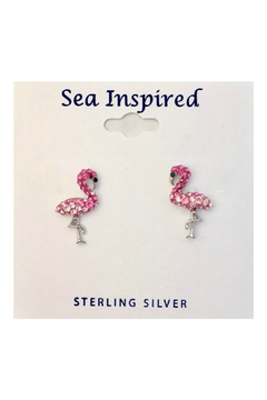 Presco Crystal Swarovski Pink Flamingo Post Earrings - Alternate List Image