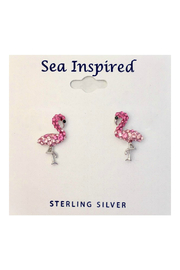 Presco Crystal Swarovski Pink Flamingo Post Earrings - Product Mini Image
