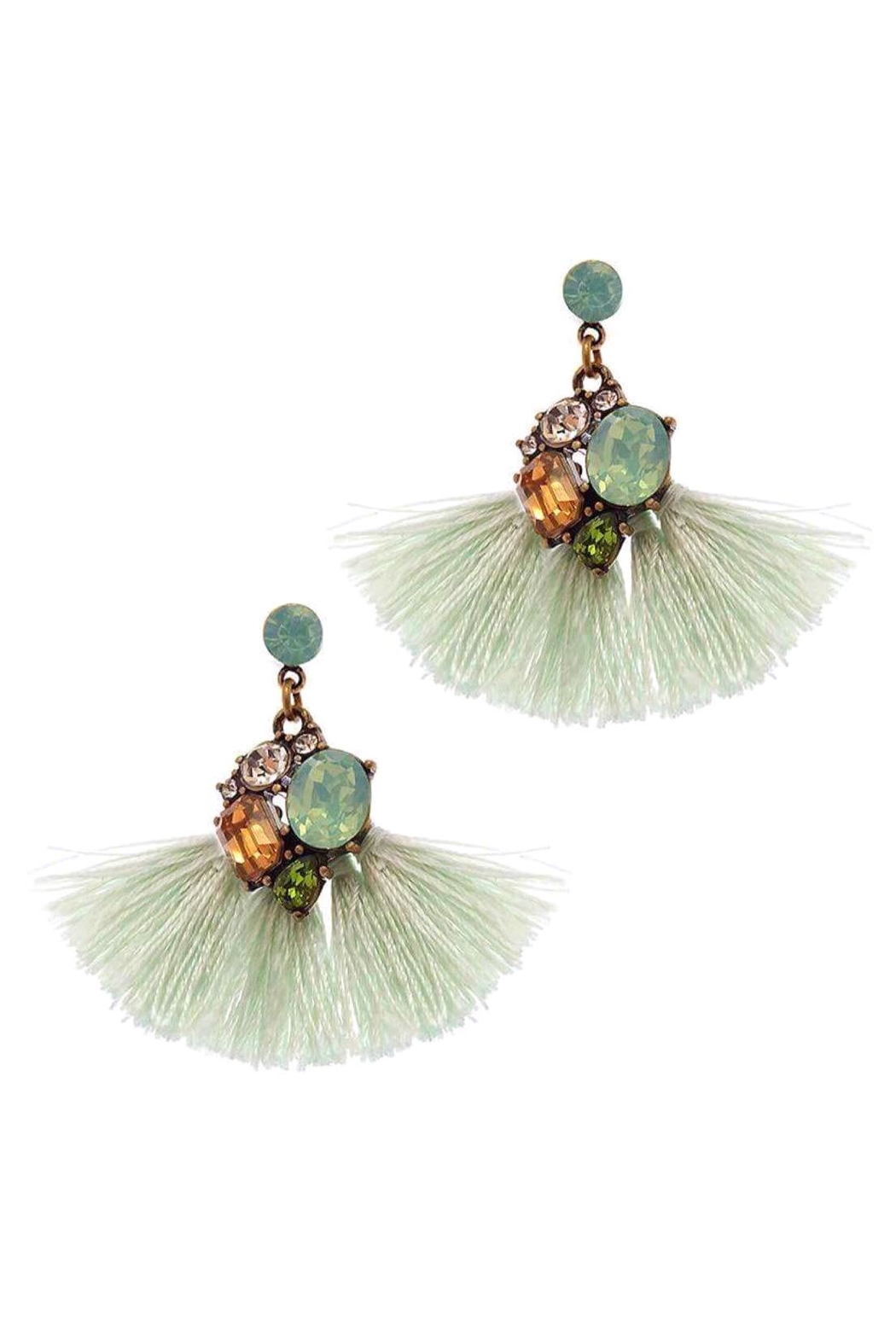 Baggis Accesorios Crystal Tassel Earrings - Main Image