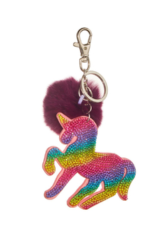 Bari Lynn Crystal Unicorn Keychain/With Fur Pom Pom - Alternate List Image