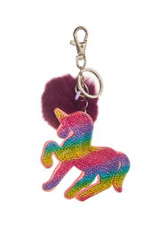 Bari Lynn Crystal Unicorn Keychain/With Fur Pom Pom - Product Mini Image