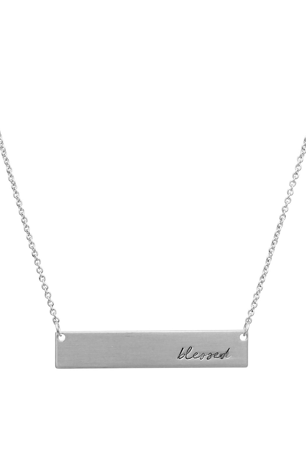 Crystal Avenue Blessed Name Plate Necklace - Front Full Image