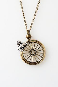 Crystal Avenue Unicycle Gold Necklace - Alternate List Image