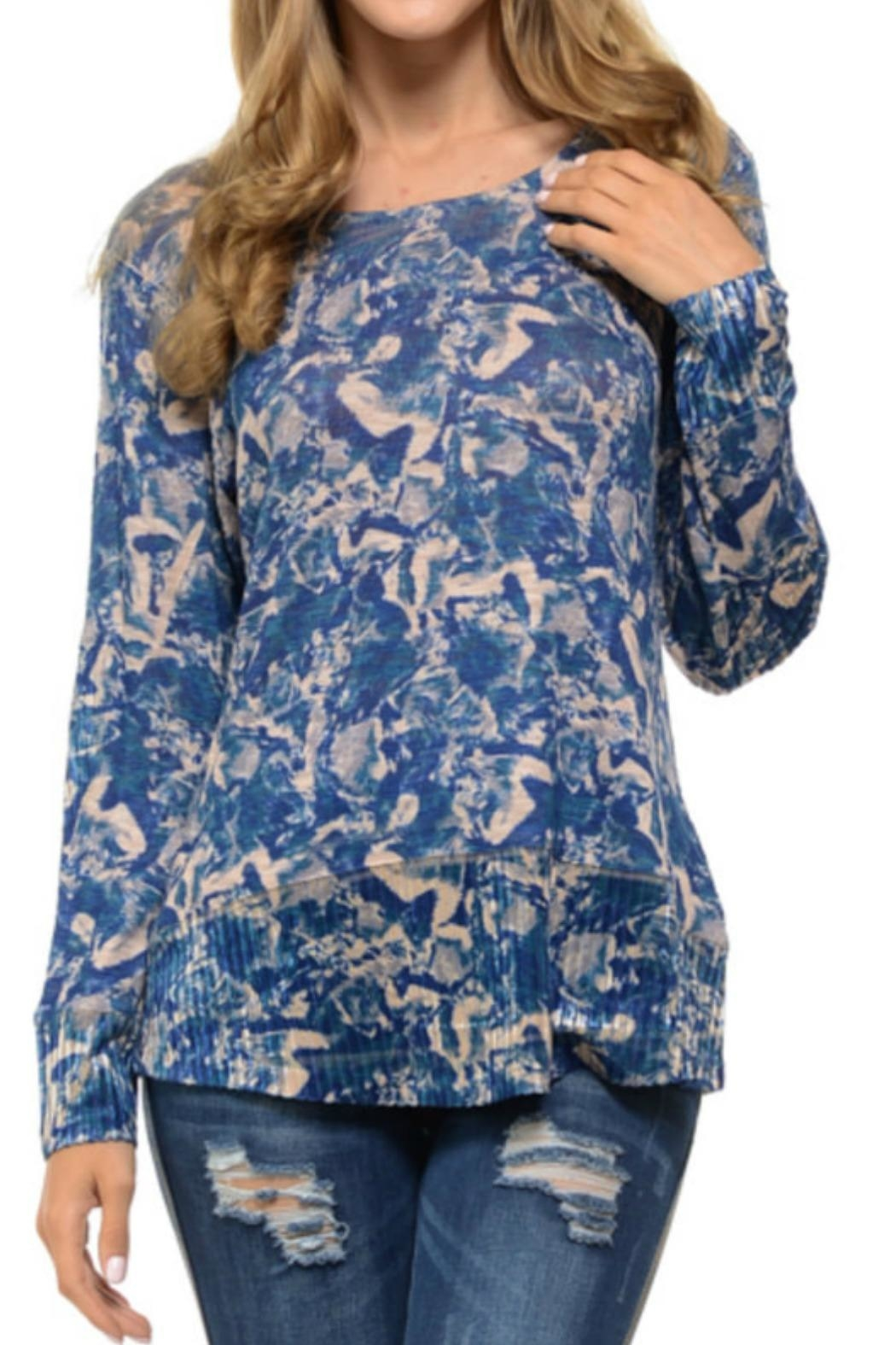 Cubism Abstract Blue Sweater - Main Image