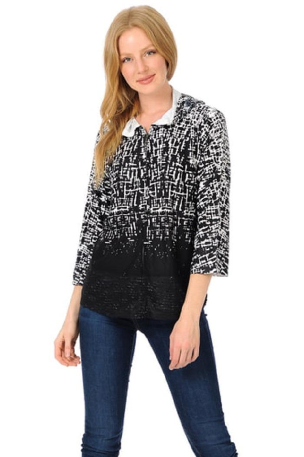 Cubism Abstract Hoodie Cardigan - Main Image