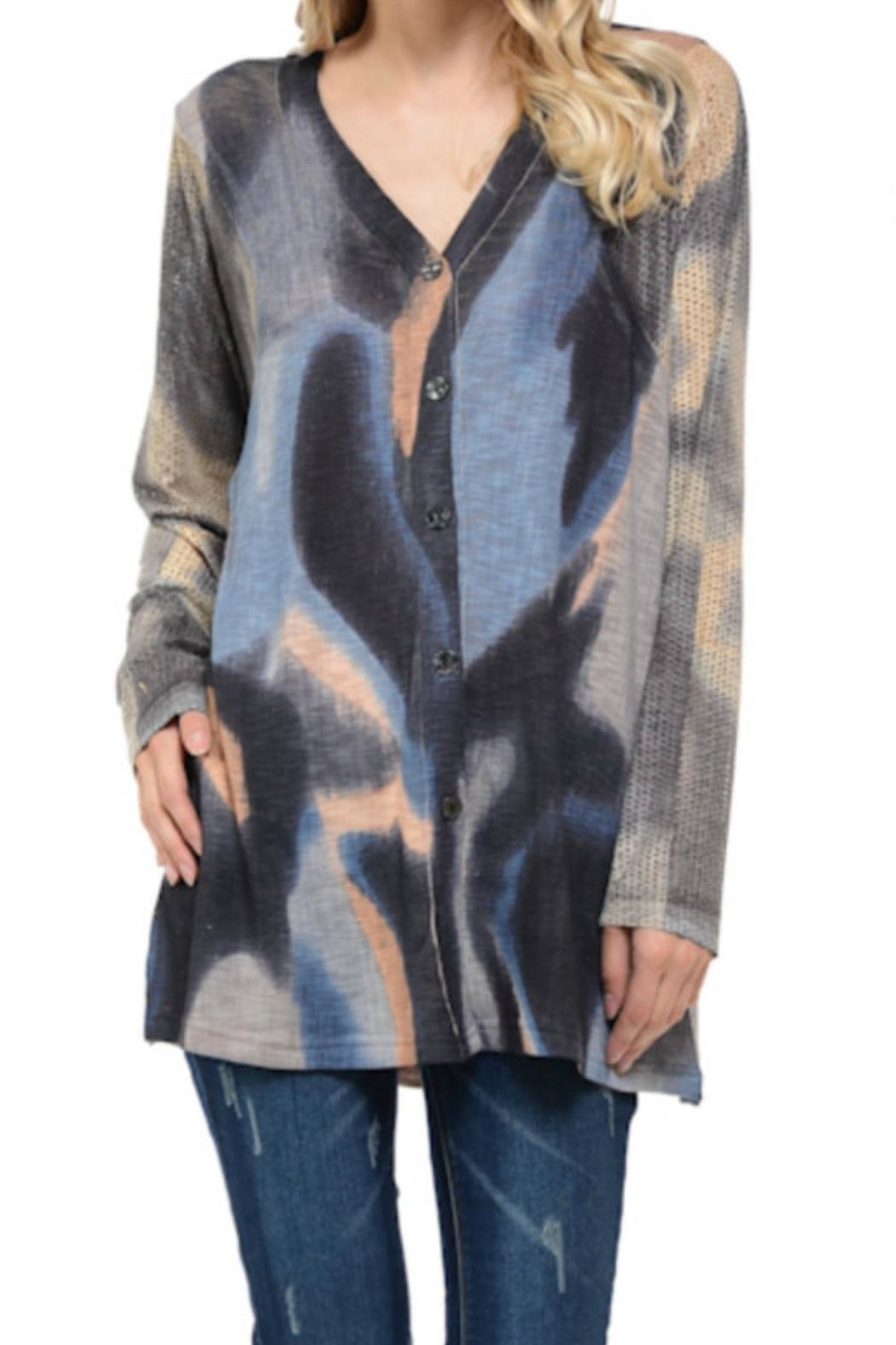 Cubism Boxy Abstract Cardigan - Main Image