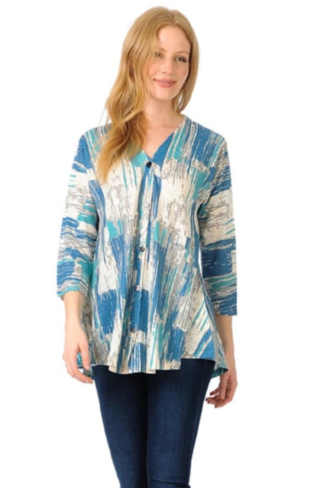 Cubism Button-Up Swing Cardigan - Main Image