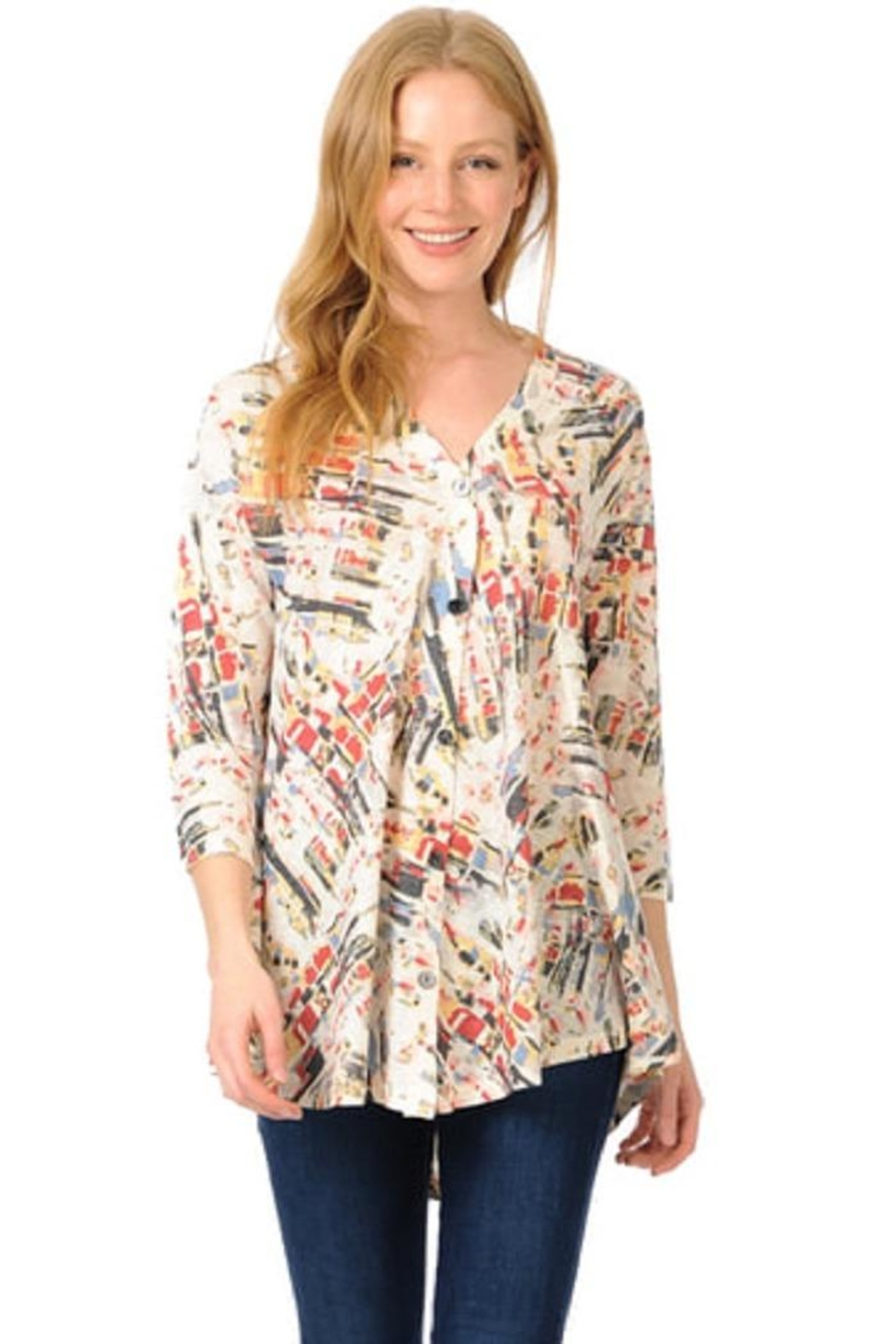 Cubism Colorful Button-Up Cardigan - Main Image