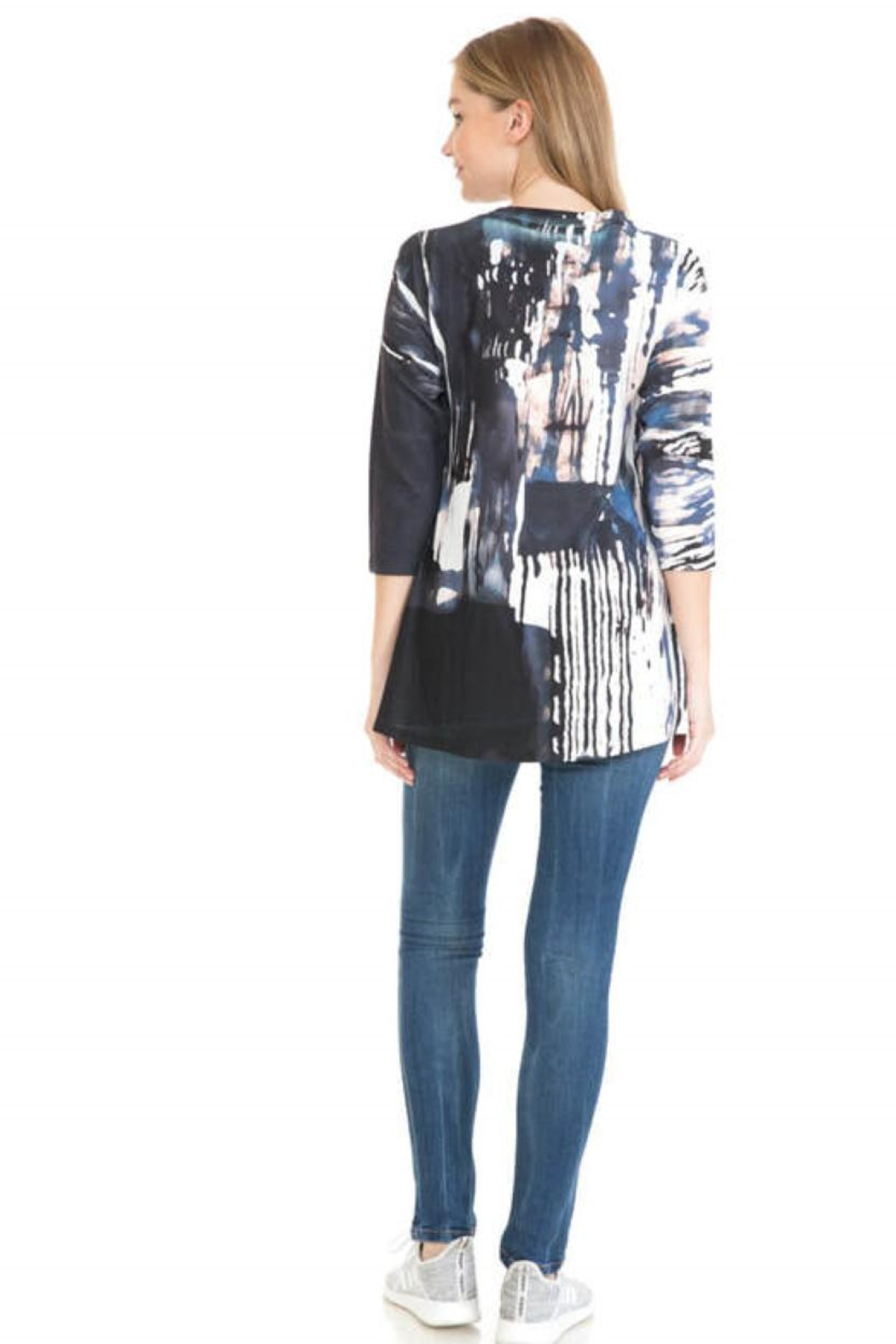 Cubism Henley Swing Knit Top - Front Full Image