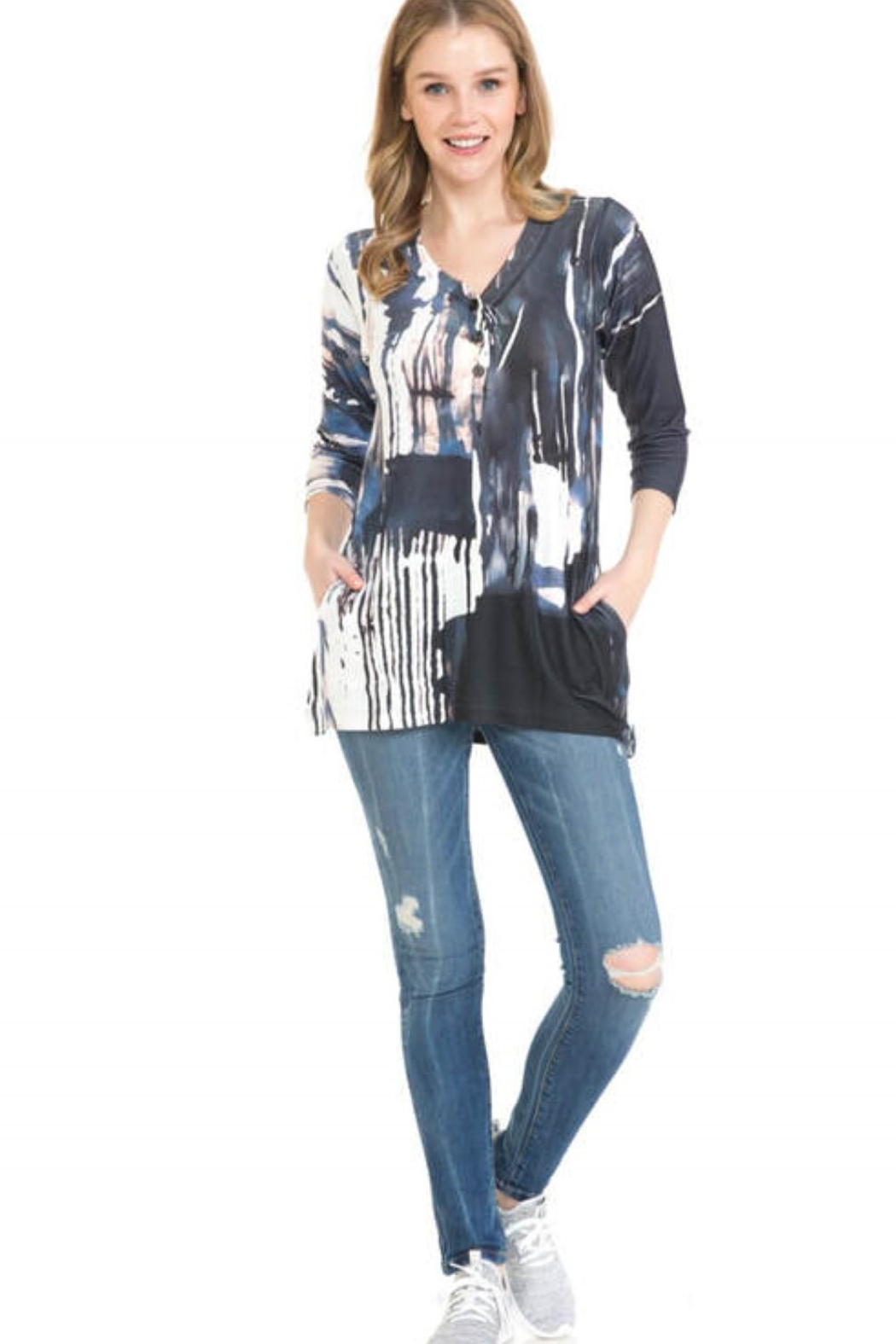 Cubism Henley Swing Knit Top - Main Image