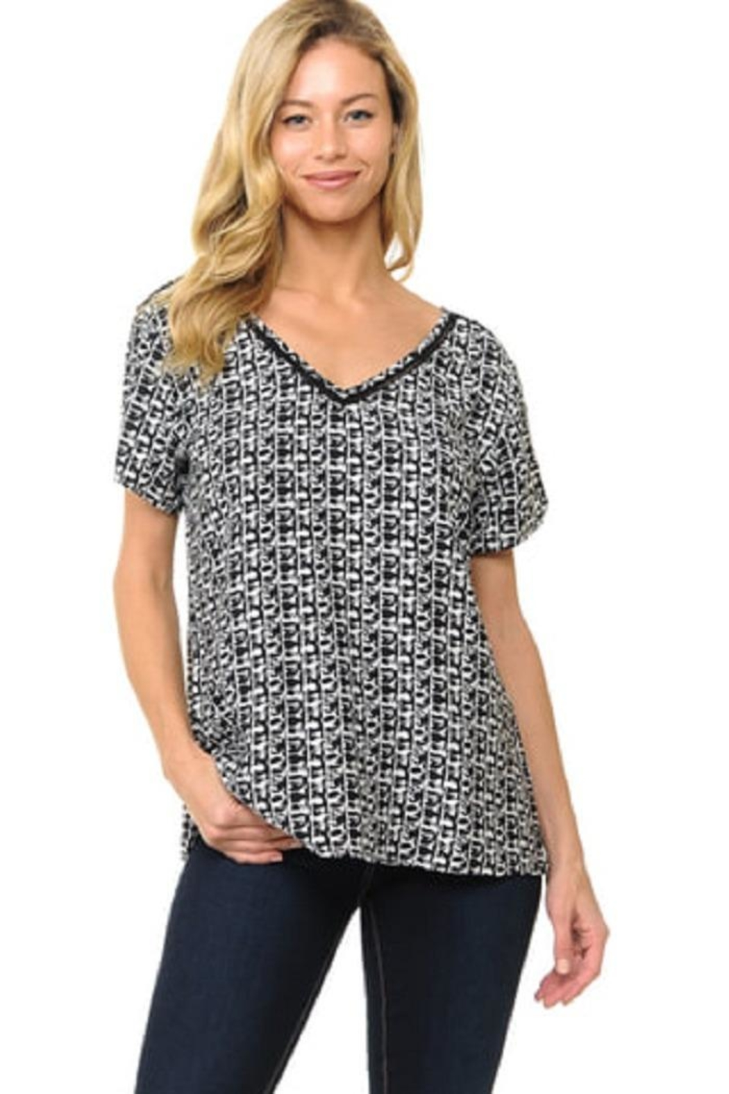 Cubism V-Neck Abstract Top - Main Image