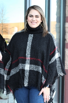 Hayden Cuddled In Plaid Poncho - Product List Image