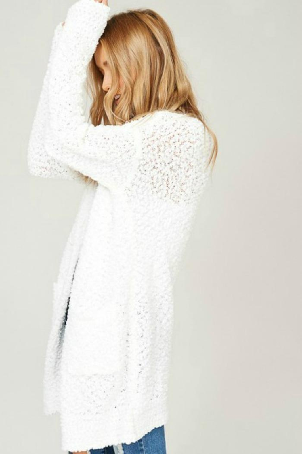 Listicle Cuddly Popcorn Cardigan - Front Full Image