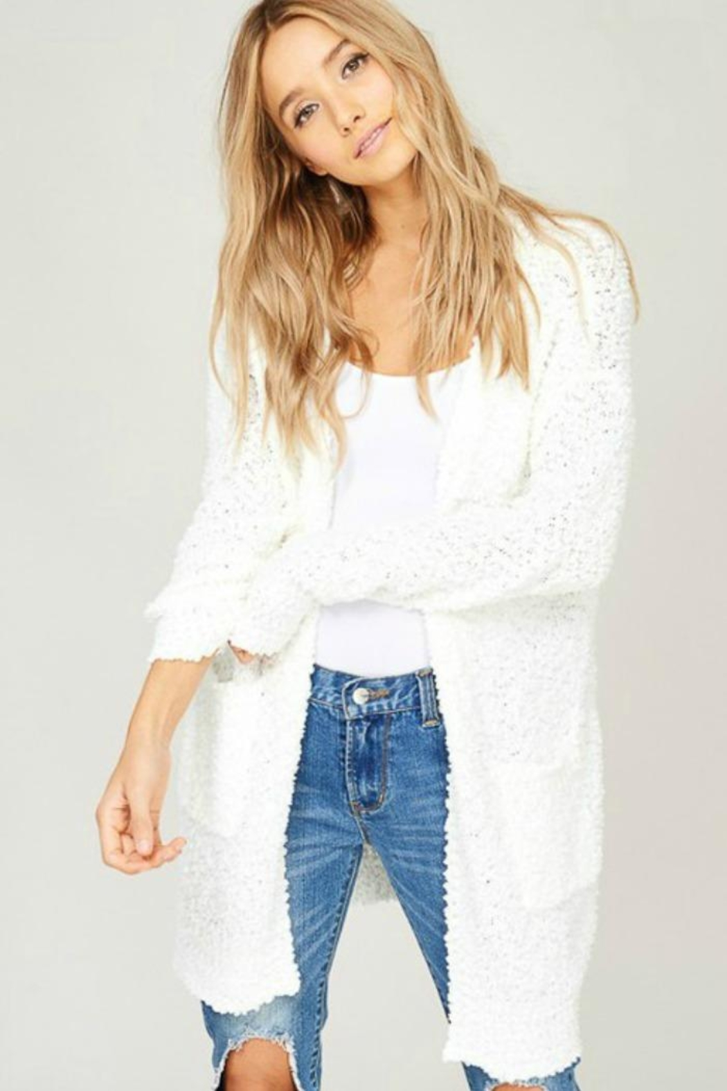 Listicle Cuddly Popcorn Cardigan - Front Cropped Image