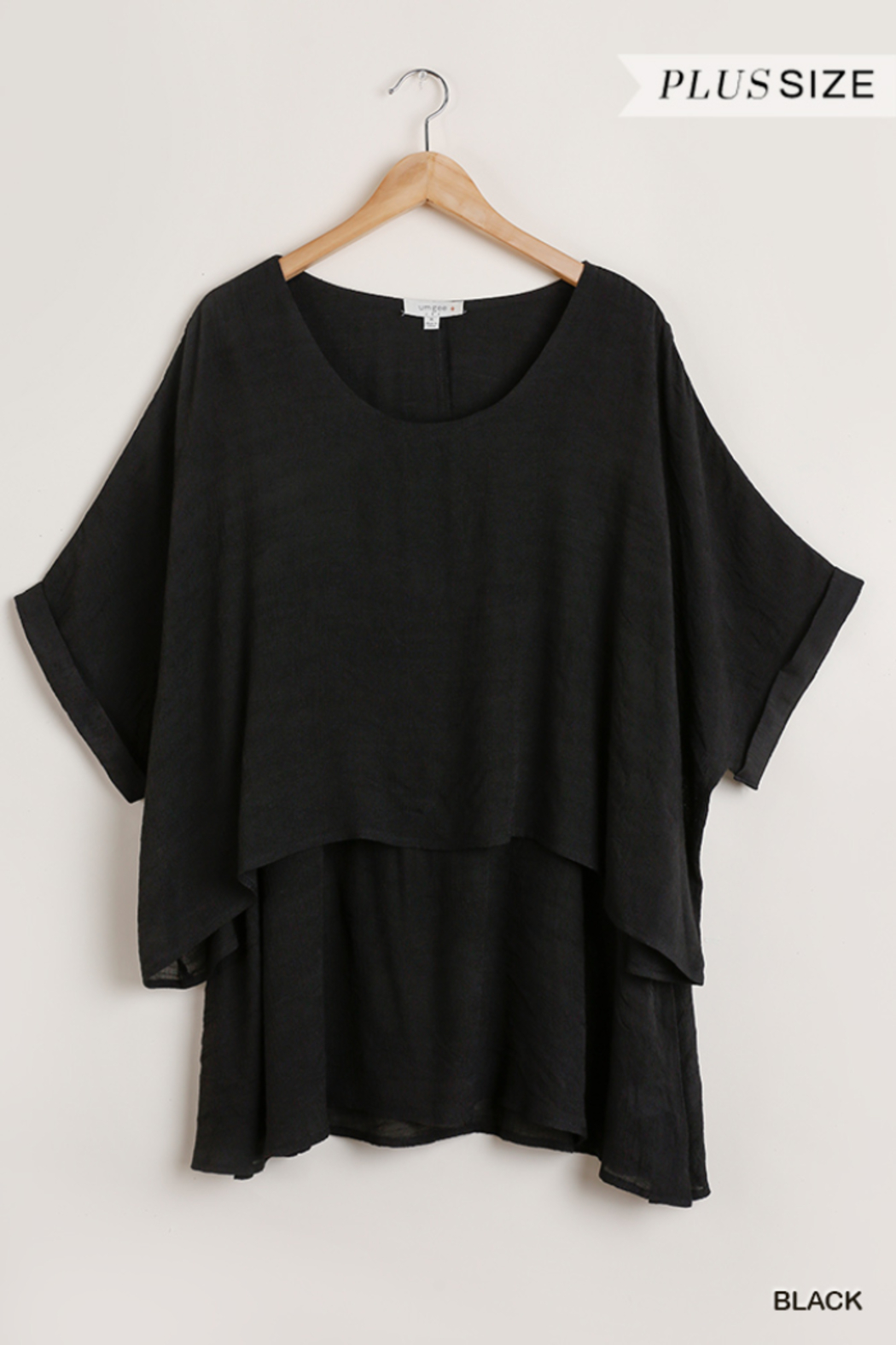 umgee  Cuffed 1/2 Sleeve Layered Tunic Curvy - Front Cropped Image