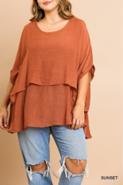 umgee  Cuffed 1/2 Sleeve Layered Tunic Curvy - Front cropped