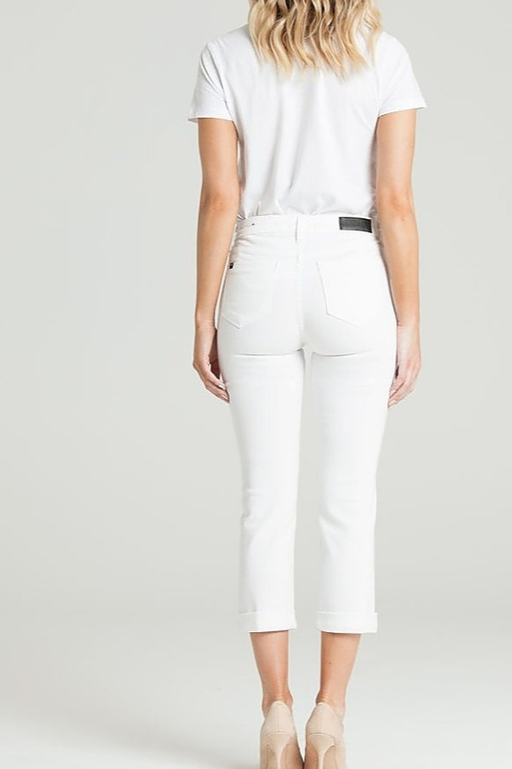 Parker Smith  CUFFED CROP WHITE JEAN - Front Full Image
