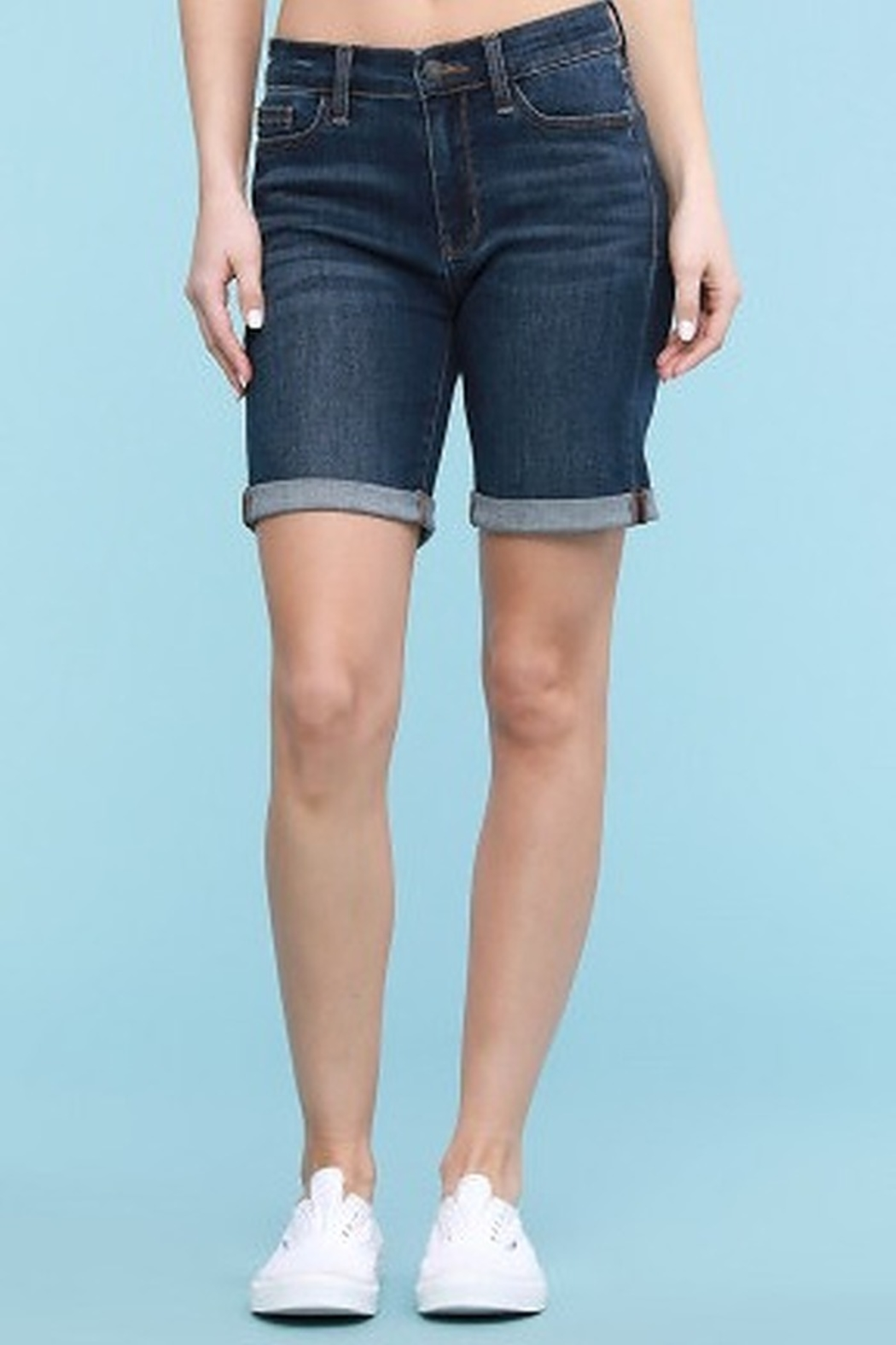 Judy Blue Cuffed Denim Bermuda Shorts - Front Cropped Image