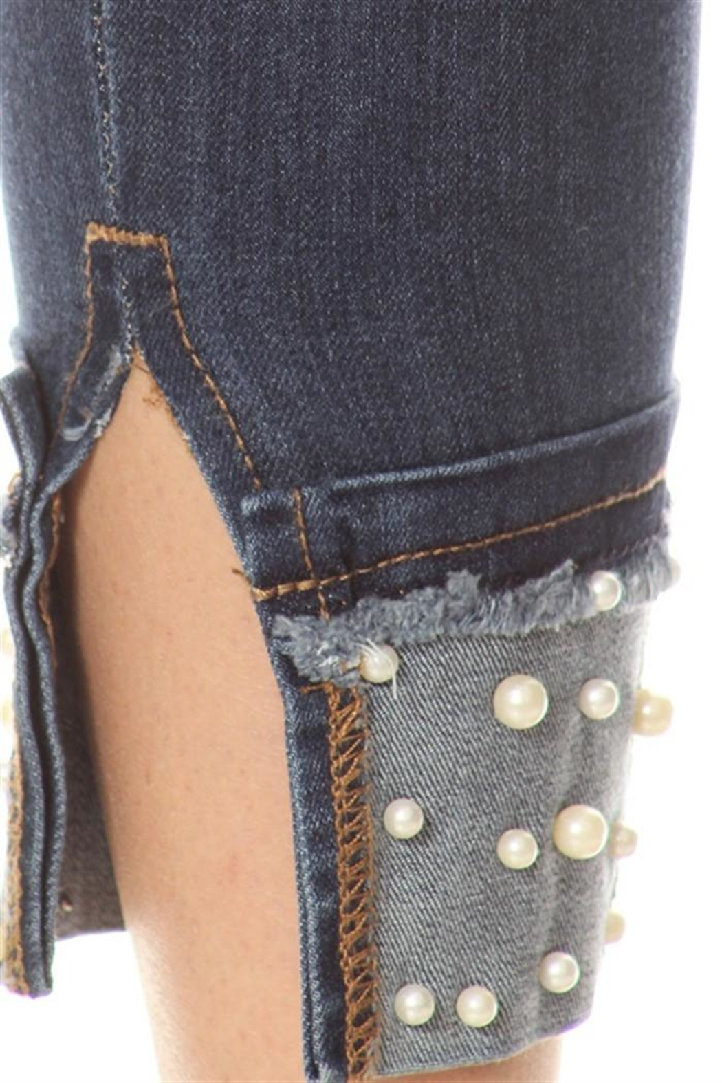 Salvage Cuffed Pearl Jeans - Front Full Image
