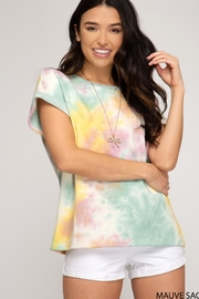 She and Sky Cuffed Short Sleeve Multi Color Top - Product Mini Image