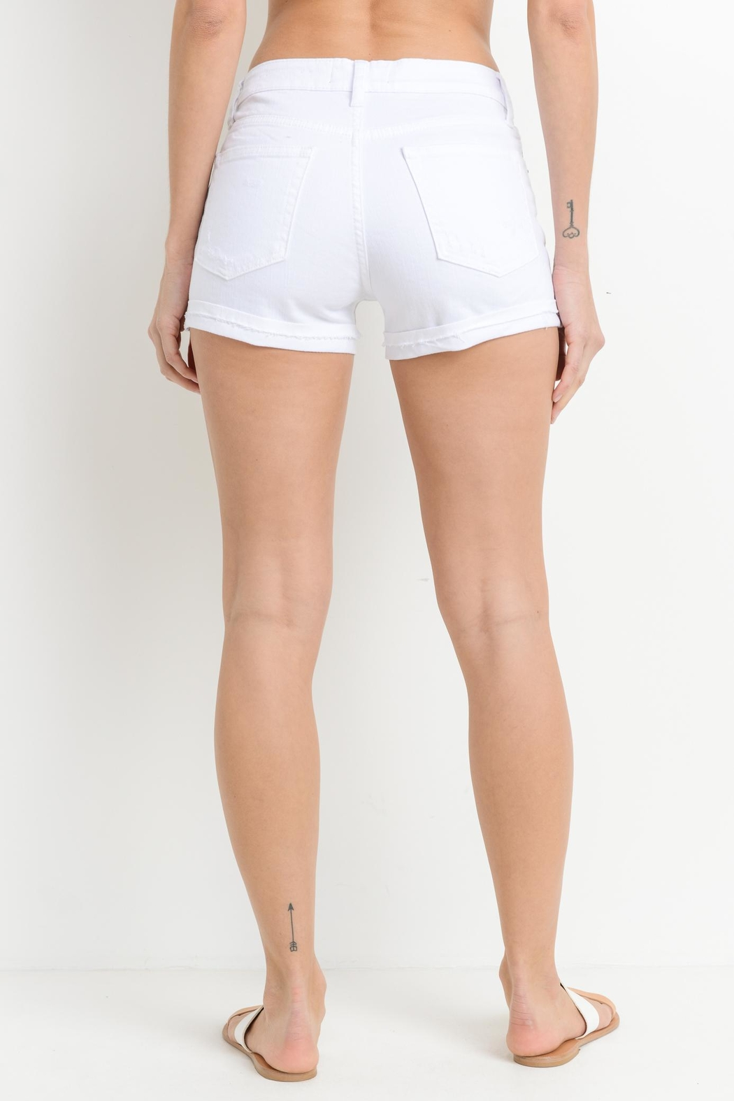 Just USA Cuffed White Short - Side Cropped Image
