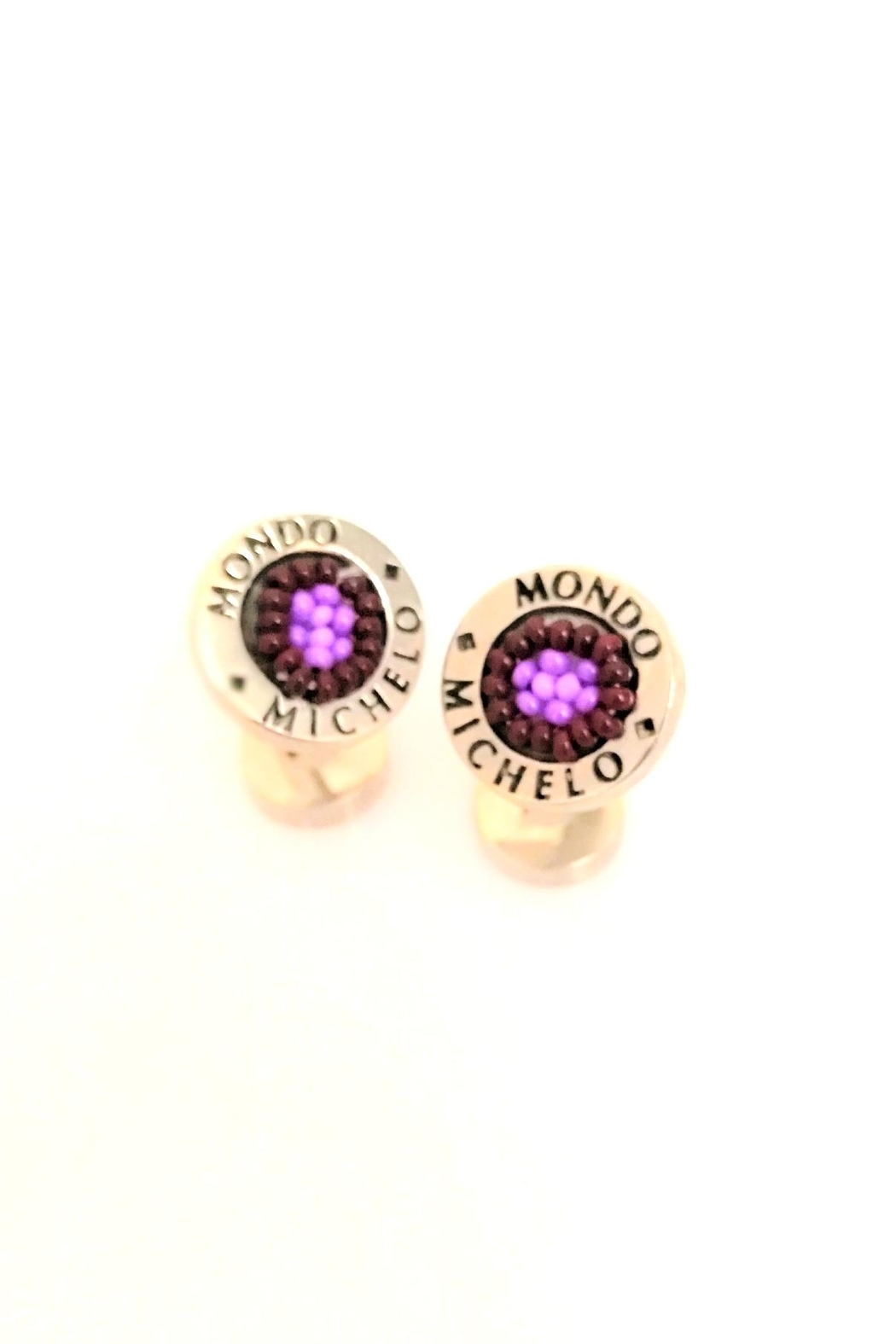 Mondo Michelo Cufflinks Button-Huichol - Front Full Image