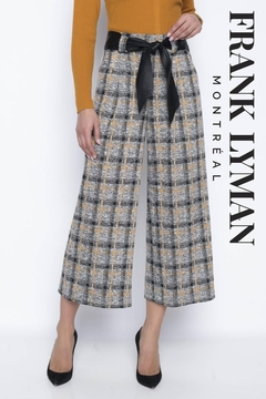Shoptiques Product: Culotte Plaid Pants with Leather Black Tie Belt