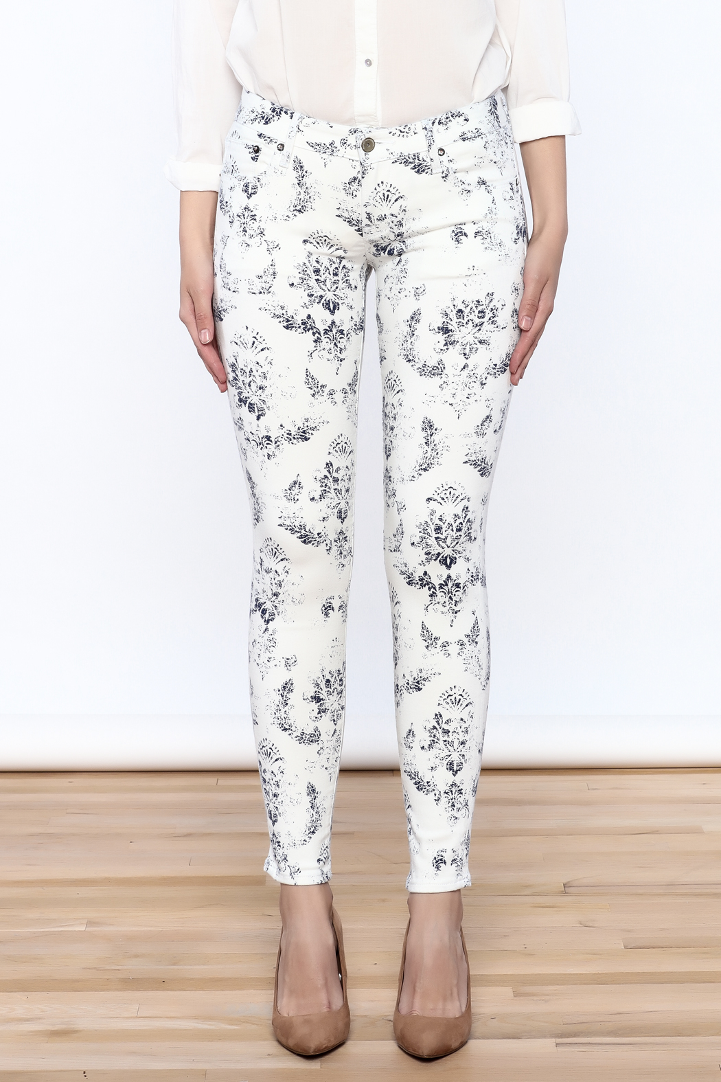 Cult of Individuality White Teaser Skinny Pants - Side Cropped Image