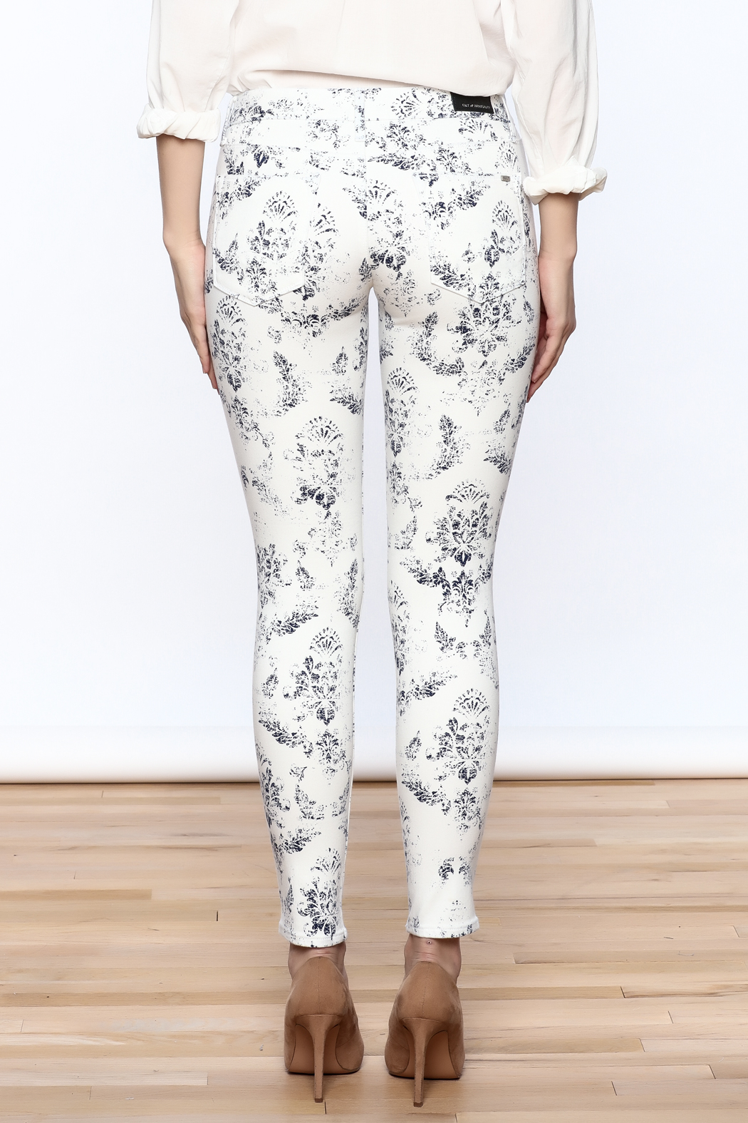 Cult of Individuality White Teaser Skinny Pants - Back Cropped Image