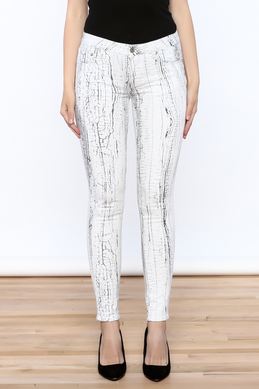 Cult of Individuality White Crackle Pants - Side Cropped Image