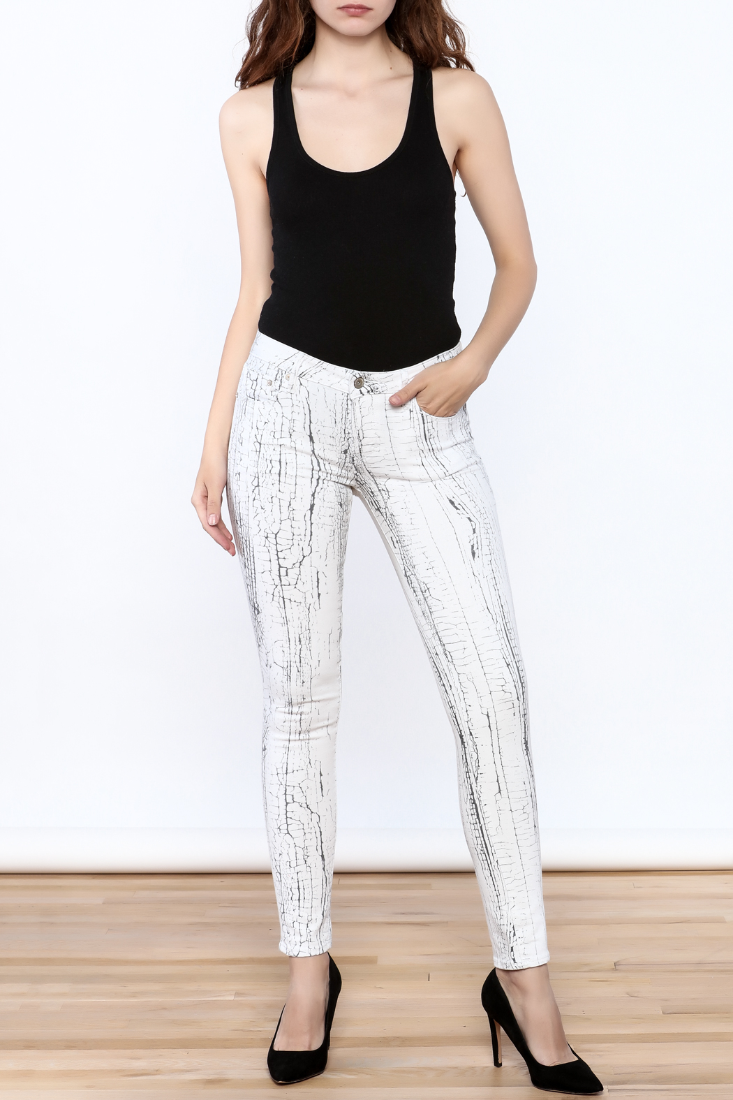 Cult of Individuality White Crackle Pants - Front Full Image