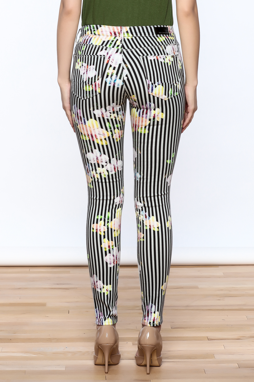 Cult of Individuality Zen Floral Skinny Pants - Back Cropped Image
