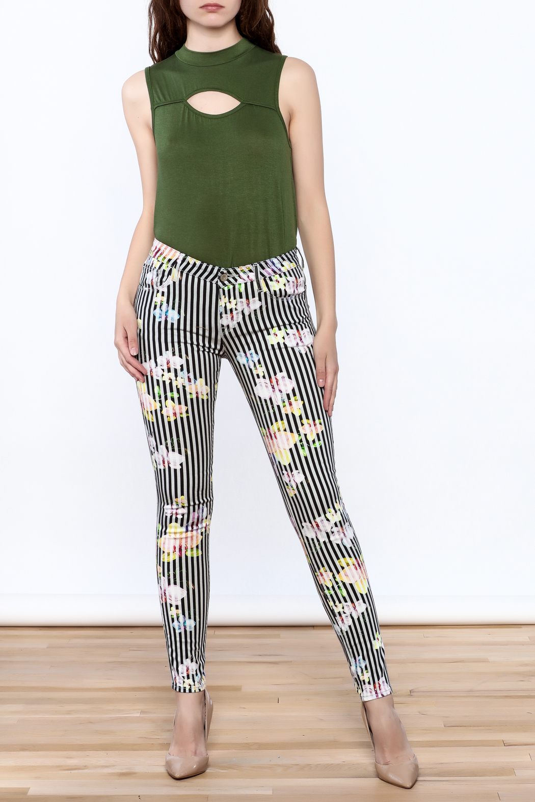 Cult of Individuality Zen Floral Skinny Pants - Front Full Image