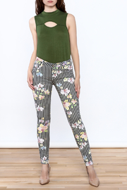 Cult of Individuality Zen Floral Skinny Pants - Front full body