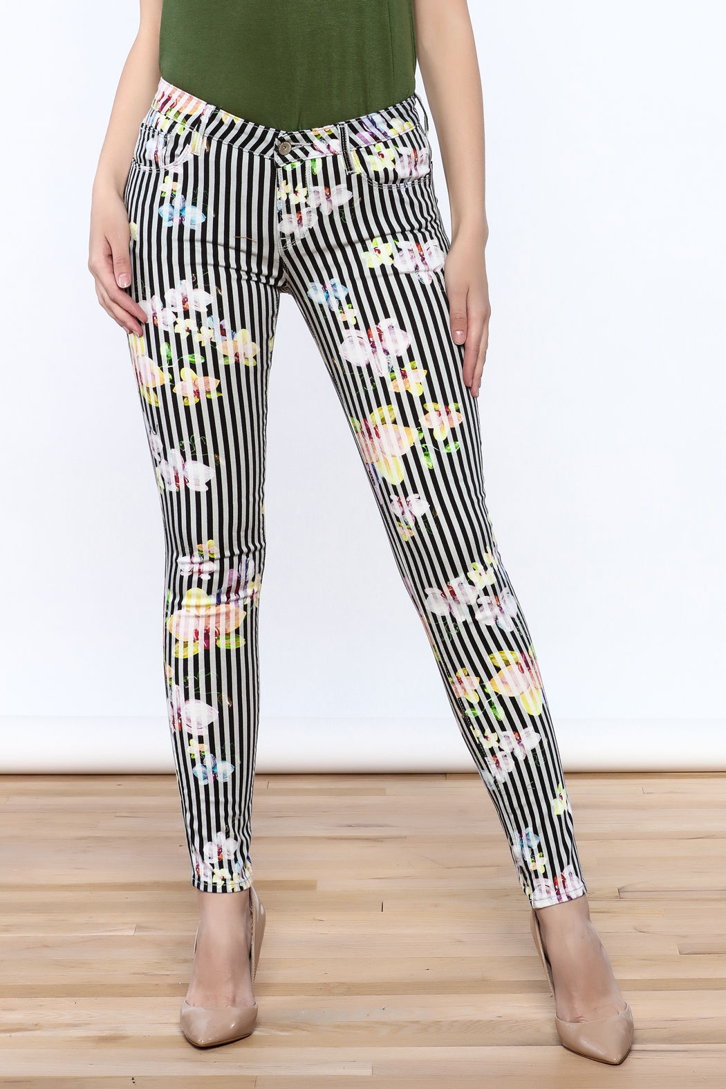 Cult of Individuality Zen Floral Skinny Pants - Main Image