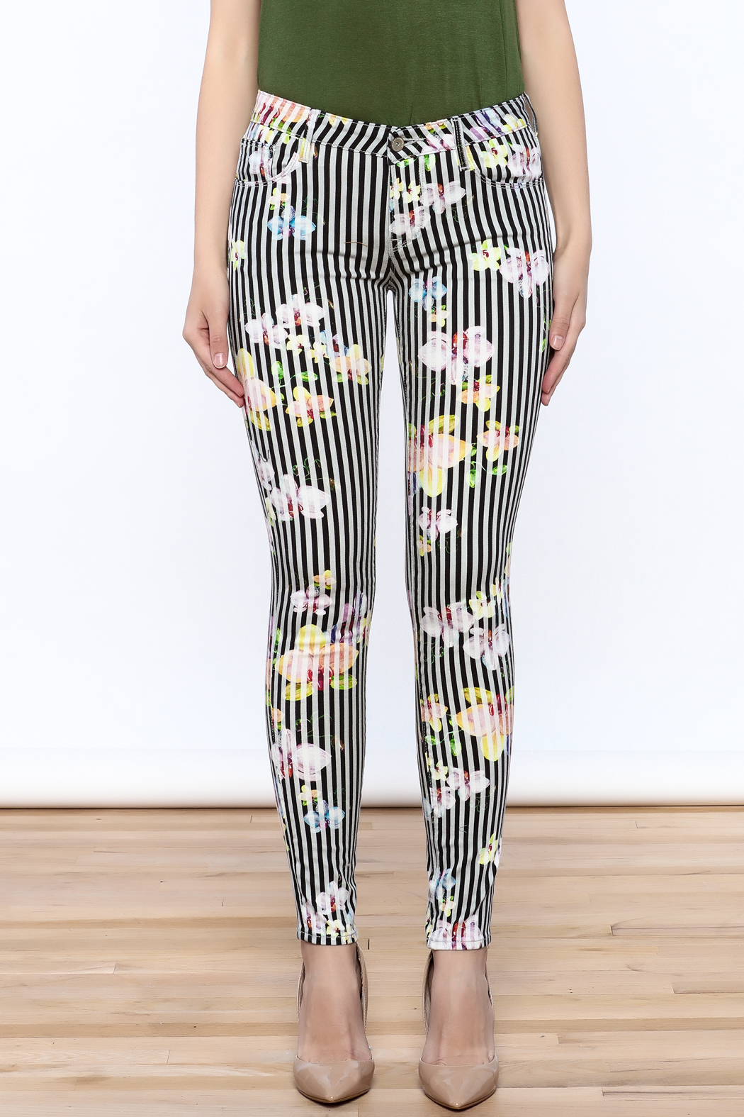 Cult of Individuality Zen Floral Skinny Pants - Side Cropped Image