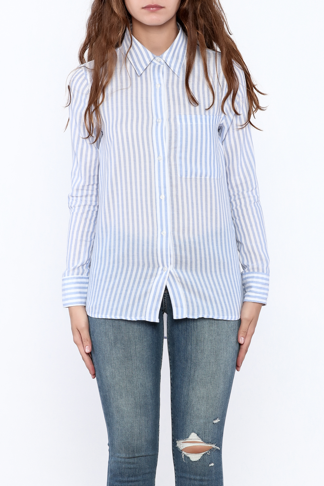 Cupcakes & Cashmere Stripe Button Down - Side Cropped Image