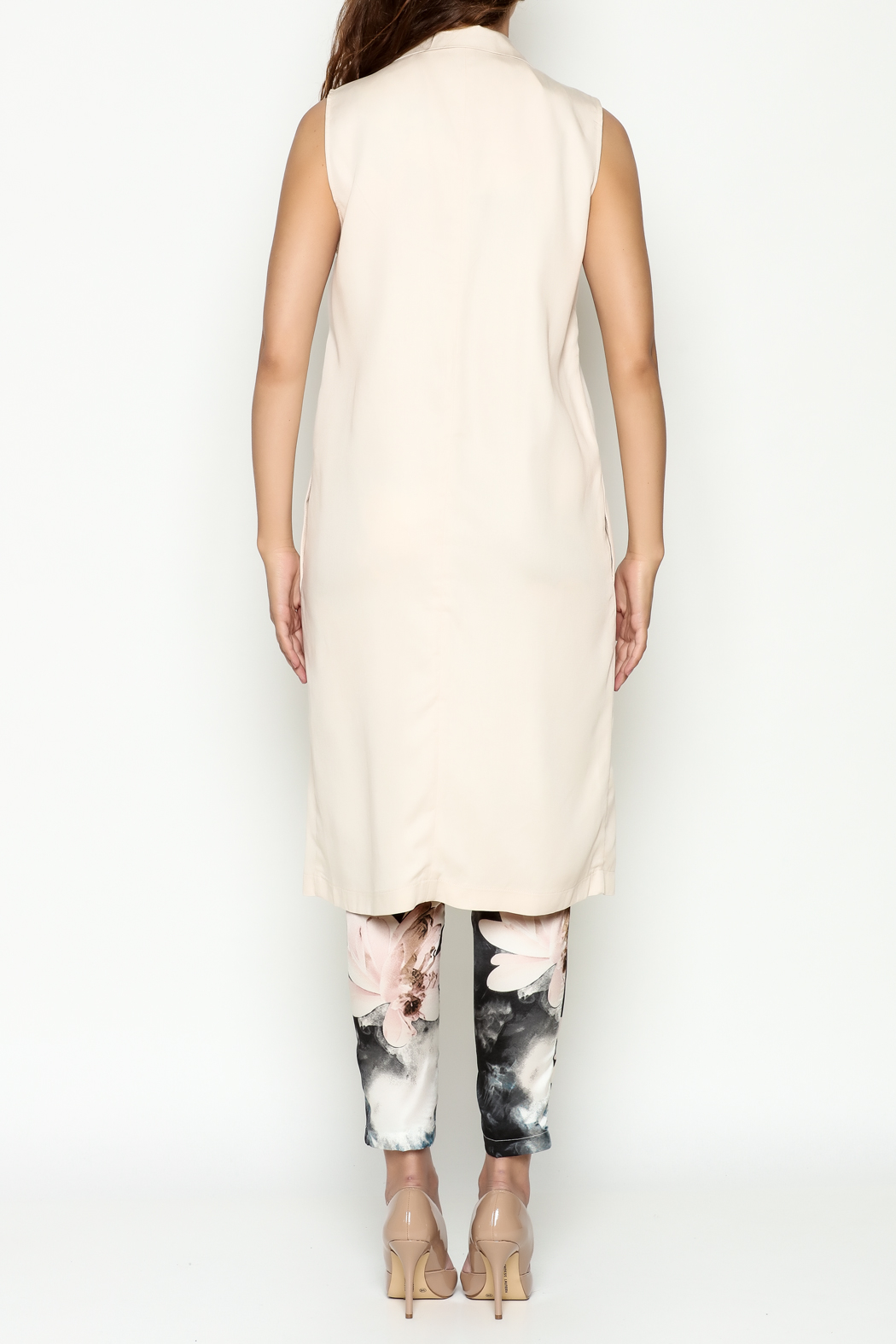 Cupcakes & Cashmere Nude Duster Coat - Back Cropped Image
