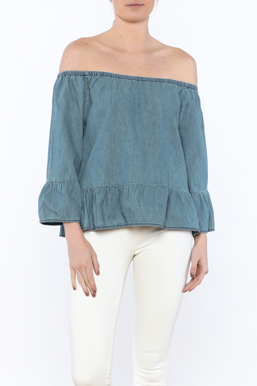 Cupcakes & Cashmere Off-Shoulder Chambray Blouse - Front Cropped Image