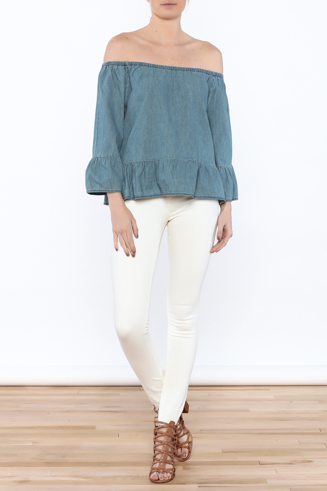 Cupcakes & Cashmere Off-Shoulder Chambray Blouse - Front Full Image