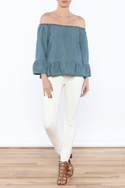 Cupcakes & Cashmere Off-Shoulder Chambray Blouse - Front full body